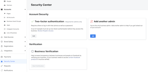 Facebook Business Manager Security Center