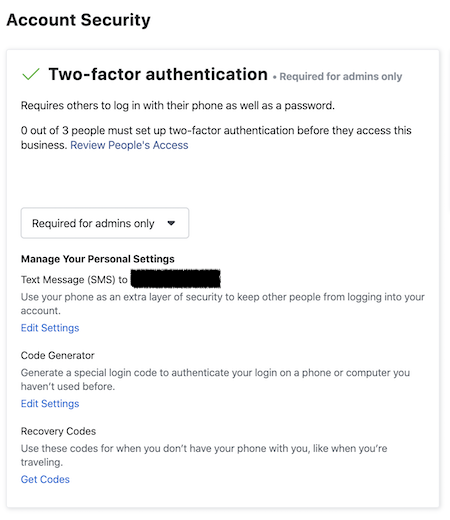 Facebook Business Manager Two factor authentication