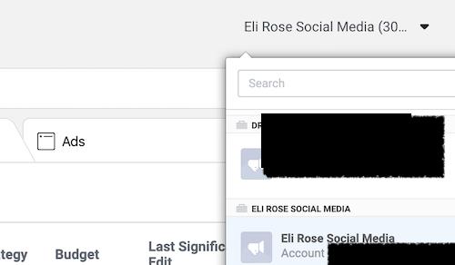 Locate Facebook ads account number