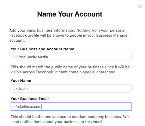 Name new Business Manager account