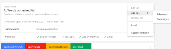 Add Audience to AdWords Ads