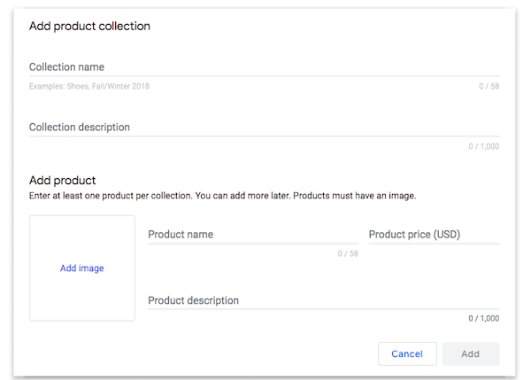 Add product collection to Google My Business