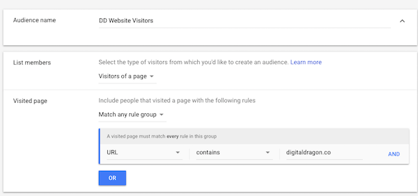 Create AdWords remarketing audience name