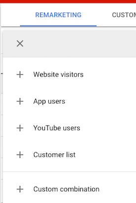 Google AdWords Remarketing audience options