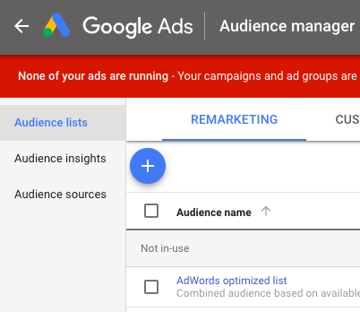 Google Audience Manager Remarketing options