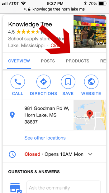 Google My Business Product Tab in Mobile View