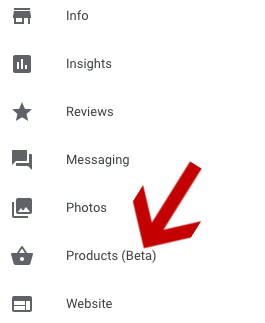 Products tab in Google My Business