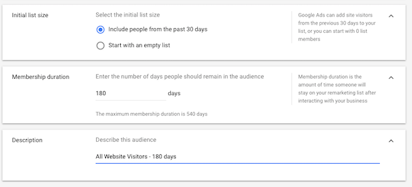 Set Adwords remarketing audience parameters