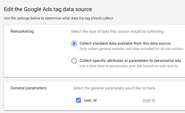 Set general parameters for adwords remarketing audience