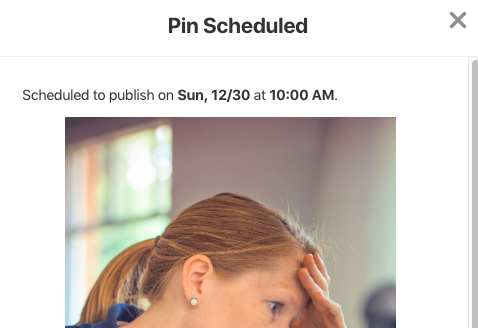 Pinterest scheduled pin