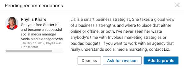 Pending LinkedIn Recommendation