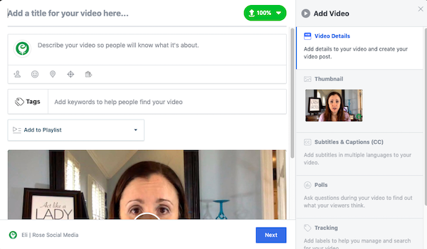 Add and optimize your Facebook video
