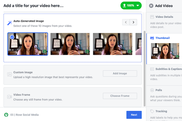 Choose Facebook video thumbnail