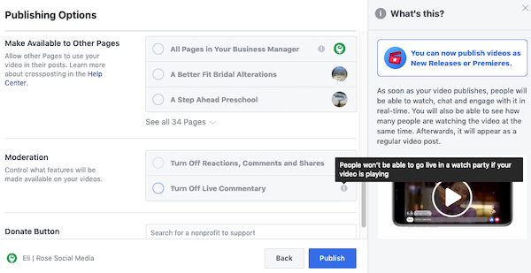 Facebook premiere video moderation options