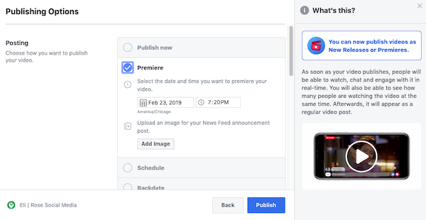 Set Facebook video premiere day and time