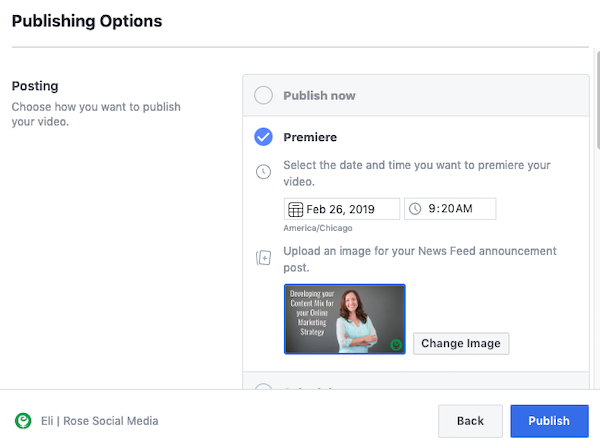 Upload Facebook premiere news feed announcement image