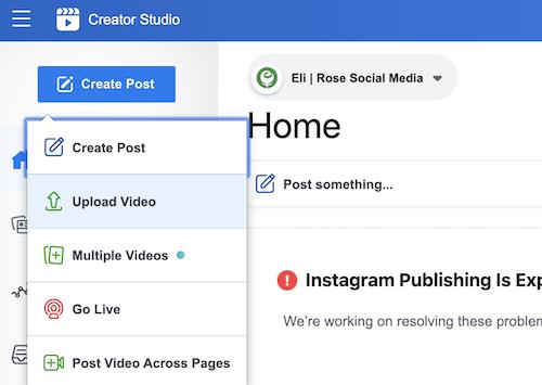 Upload video to Facebook Creator Studio