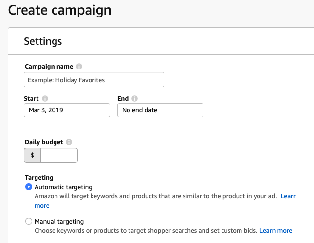 Amazon ad campaign name date budget