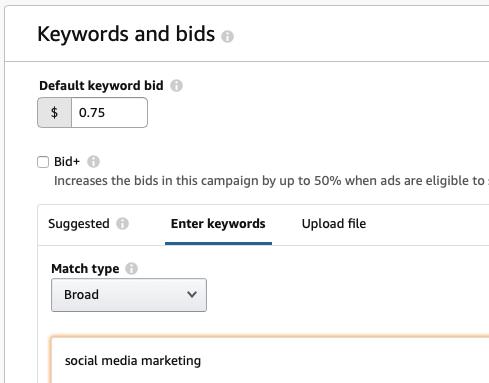 Amazon ad keyword targeting and bidding