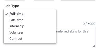 Facebook job posting job type