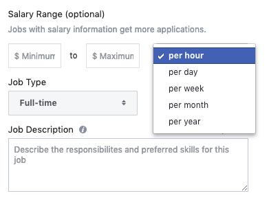 Facebook job posting salary
