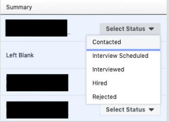 Facebook job application status