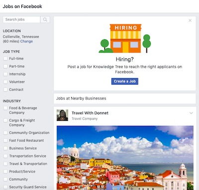 search current job listings on Facebook