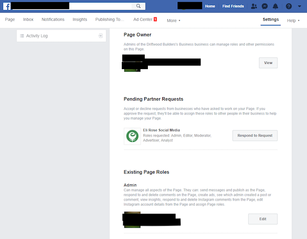 Pending Facebook Business Manager Request