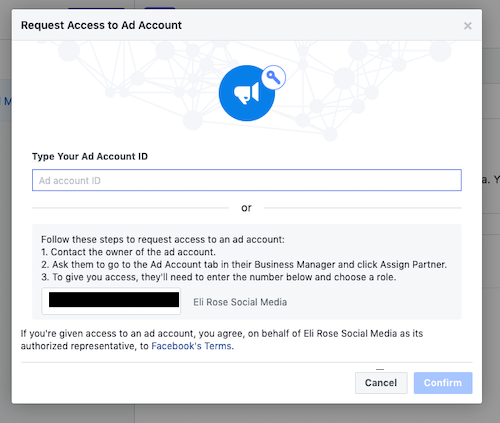 Request access to Facebook Ads account