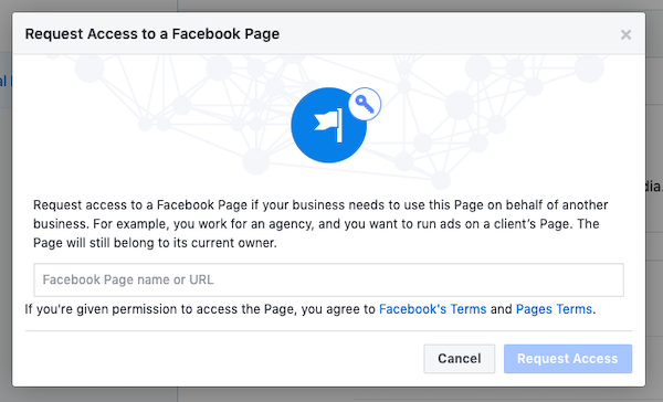 Request access to another Facebook Business Page