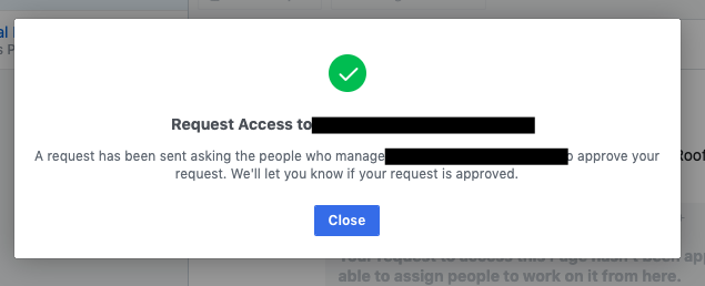 Send request for access to manage a Facebook Page in Business Manager
