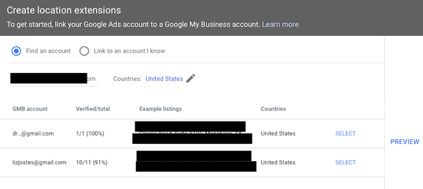 Choose Google My Business Account contact