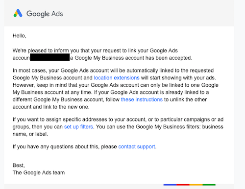 Confirmation email of connection between Google Ads and Google My Business