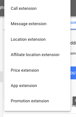 Google Ads Extension types