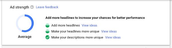 Google Responsive Search Ad grade