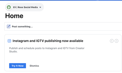 Instagram and IGTV publishing available from Creator Studio