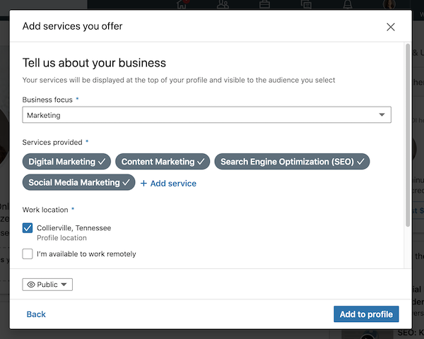 Decide what services to showcase on your LinkedIn Profile