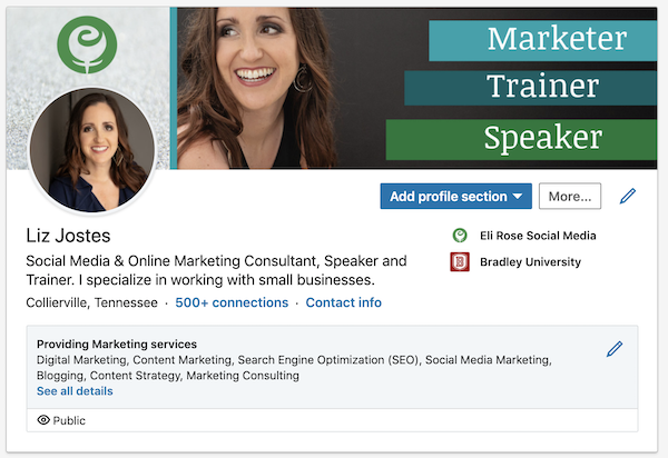 Updated LinkedIn Profile look once Services are showcased