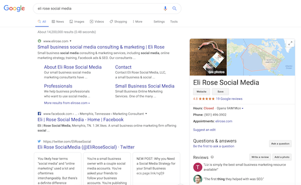 Google My Business listing in desktop search