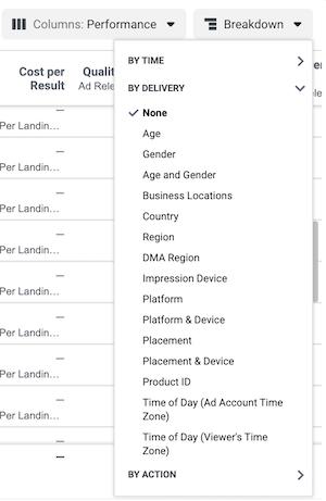 Facebook Ads Manager Breakdown menu