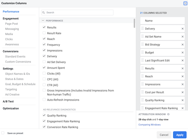 Facebook Ads Manager Customize Columns view