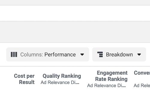 Facebook Ads Manager Data Menus