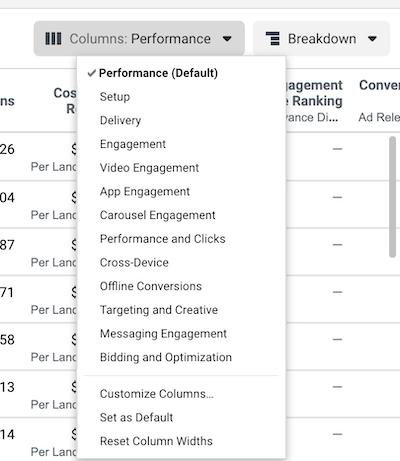 Facebook Ads Performance Data Breakdown Menu