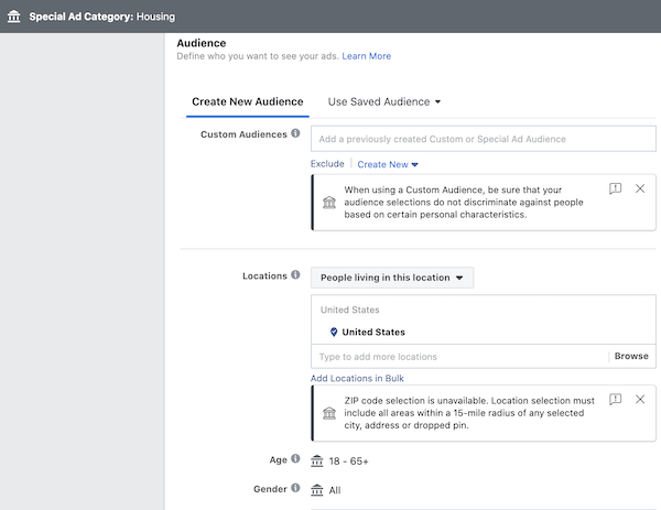 Creating audience with special ad category Facebook ads