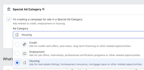 Select which Special Ad Category for your Facebook Ad