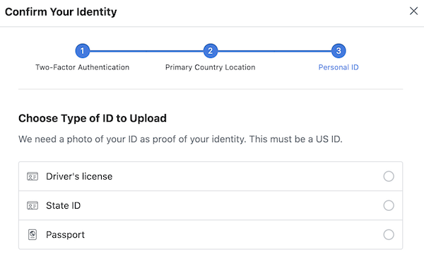 Choose ID form to provide to Facebook