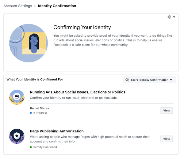 Confirm your Identity on Facebook