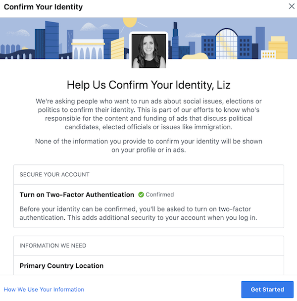 Confirm your identity with Facebook