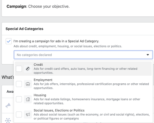 Facebook Special Ads Category with Politics