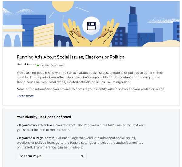 Identity confirmed to run political elections and social issues ads